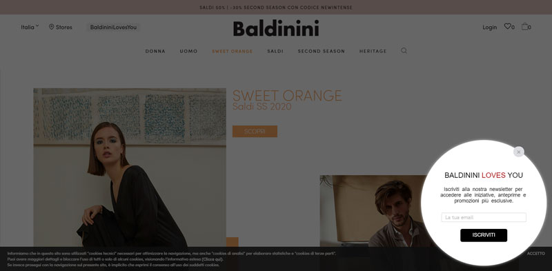 Baldinini, popup iscrizione alla newsletter su desktop