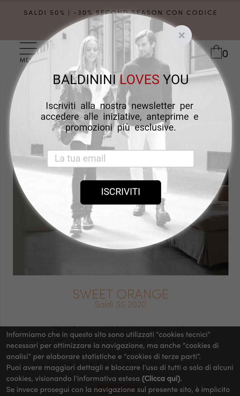 Baldinini, popup iscrizione alla newsletter su mobile