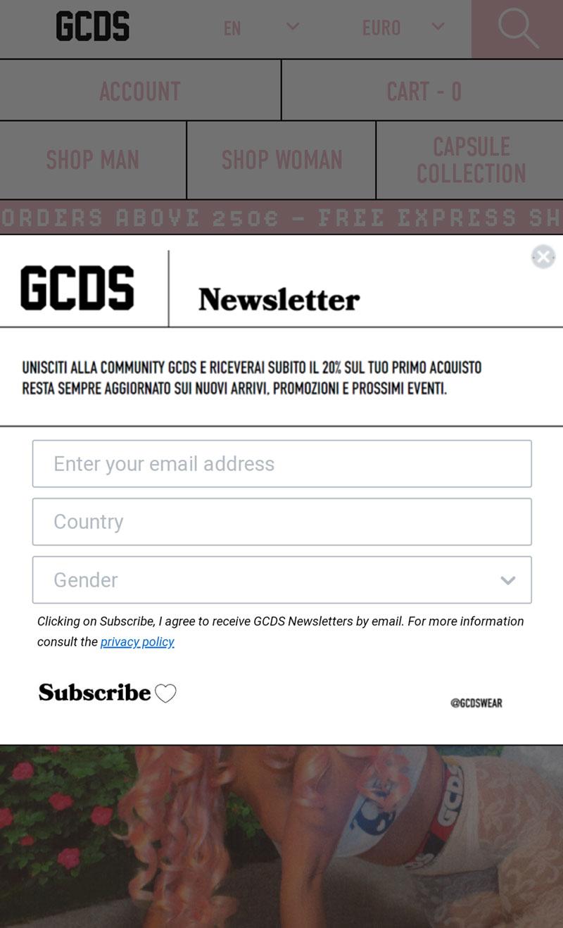 GCDS, popup iscrizione alla newsletter su mobile