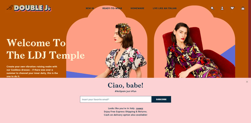 La DoubleJ, popup iscrizione alla newsletter su desktop