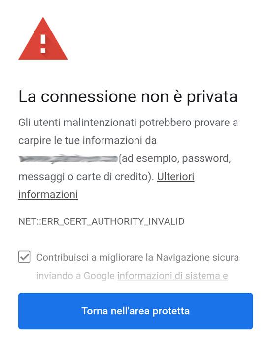 Pagina di errore certificato SSL su Google Chrome