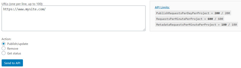 Schermata del plugin SEO per WordPress Instant Indexing for Google