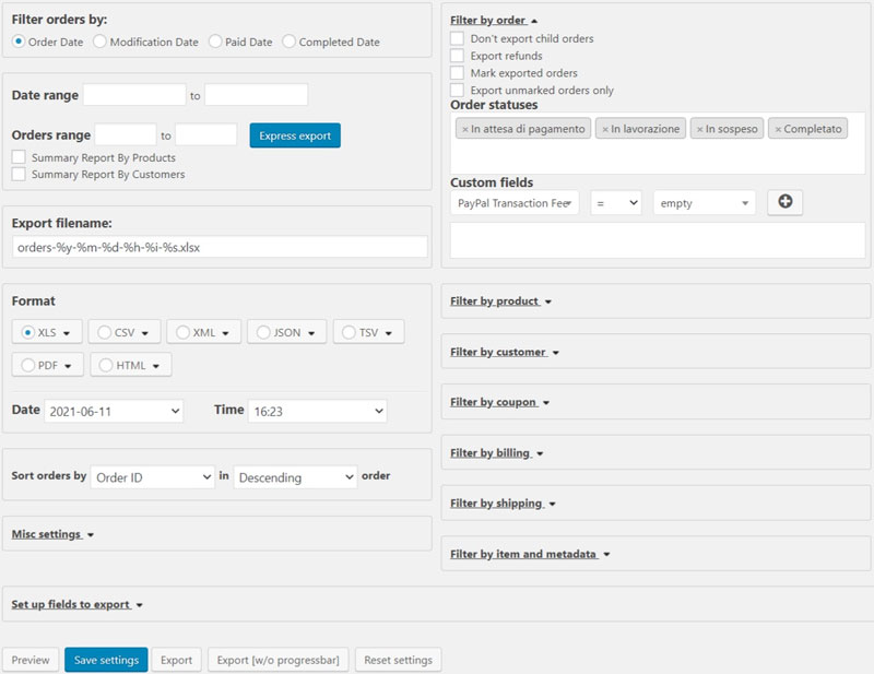 Schermata del plugin di export dati per Woocommerce Advanced Order Export
