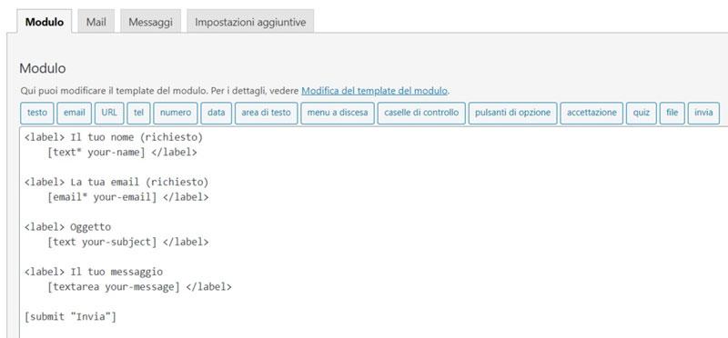 Schermata del plugin per l'inserimento moduli di contatto per WordPress Contact Form 7
