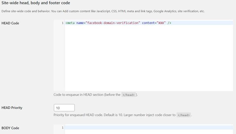 Schermata del plugin per l'inserimento script e html per WordPress Header & Footer Code