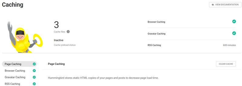 Schermata del plugin di velocità per WordPress Hummingbird