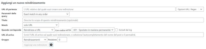 Schermata del plugin SEO per WordPress Redirection