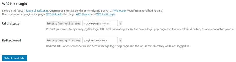 Schermata del plugin di sicurezza per WordPress WPS Hide Login
